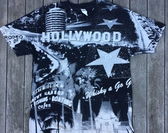 7cd4a120 Vintage 90's Hollywood California Print Unisex Large Souvenir USA T-shirt  Retro Hip Hop Streetwear Summer Festival Hollywood Los Angeles Tee