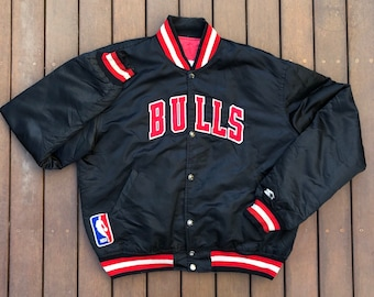 56ea22f20a015c Vintage 90 s NBA Chicago Bulls Starter Sportswear XL Nylon Basketball  Bomber Jacket Retro Hip Hop Chicago Bulls Streetwear USA Windbreaker