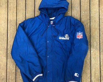 39f3b7fcd Vintage 90 s NFL Starter Dallas Cowboys American Football Large Hooded Jacket  Retro Hip Hop USA Streetwear Winter NFL Cowboys Starter Puffer