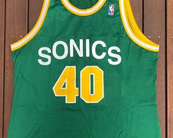 385c0332bd9 Vintage 90's NBA Seattle Supersonics Shawn Kemp Champion Sportswear Size 48  Basketball Jersey Retro Hip Hop Streetwear Summer Bball Jersey
