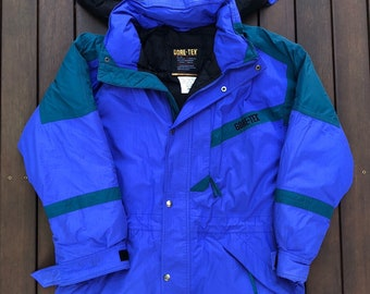 216f946dad Vintage 90 s Gore Tex Pastel Color Block Down Feather Filled Snow Puffer Jacket  Retro Hip Hop Streetwear Gore Tex Outerwear Small Men s Coat