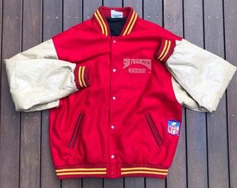 e4072043d Vintage 90 s NFL San Francisco 49ers Wool Leather Varsity Letterman XL  Bomber Jacket Retro Hip Hop Streetwear Sportswear American Football