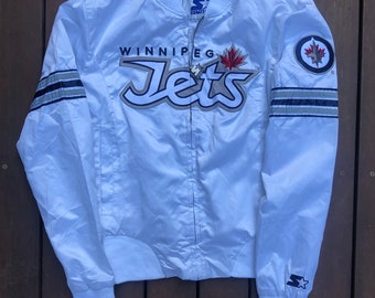 Vintage 1996 NHL Winnipeg Jets Stater Sportswear Small Ice Hockey Satin  Bomber Jacket Retro Hip Hop Canadian Hockey Streetwear Cool Jacket f6cc94e33