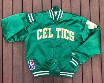 1ed18e5fd993 Vintage 1980 s NBA Boston Celtics Starter Sportswear Satin Coaches Medium  Bomber Jacket Retro Hip Hop NBA Streetwear Larry Bird Era Celtics