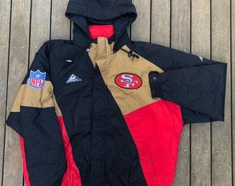 9b55958f8 Vintage 90 s NFL San Francisco 49ers Unisex Color Block XL Hooded Puffer Jacket  Retro Hip Hop Cozy Streetwear NFL American Football Jacket