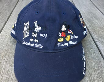 3dc88924744 Vintage 90 s Disney Disneyland Mickey Mouse Embroidered Disney Strap Back  Souvenir Cap Retro Mickey Mouse Disney Streetwear Festival Summer