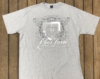 4821c9359 Vintage 90's Hip Hop Phat Farm Box Logo Oversized XL T-shirt Retro Phat Farm  USA Summer Festival Glittler Unisex Russell Simmons Brand Tee