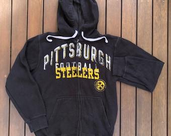 Vintage 90 s NFL Pittsburgh Steelers Unisex Medium Hooded Sweatshirt Jacket  Retro Hip Hop Streetwear NFL Steelers Zip Up Tracksuit Jacket 6491a0ab8