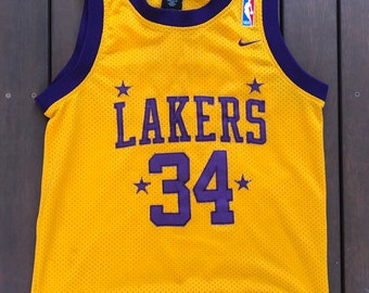 eb8bb360afd6 Vintage 90 s NBA Nike Team Sportswear Los Angeles Lakers Shaquille O Neal  American Basketball Jersey Retro Hip Hop Streetwear NBA Shaq Top