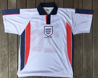 Vintage 90's England World Cup Micheal Owen Unisex Large Player Kit Top Retro England Football Team Streetwear Sportswear Jersey England Top