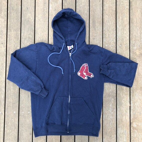 check out 9ab6f 74cba Vintage 90's MLB Boston Red Sox Majestic Sportswear Unisex Small Zip Up  Hooded Sweatshirt Retro Hip Hop Red Sox Hoodie Streetwear MLB Jacket