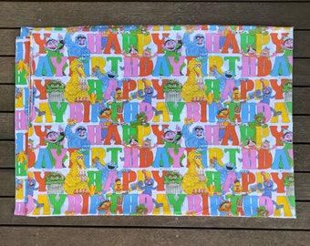 Vintage 90's Sesame Street The Muppets Happy Birthday Cartoon Print All Over Single Flat Sheet Retro Sesame Street Cartoon Big Bird Print
