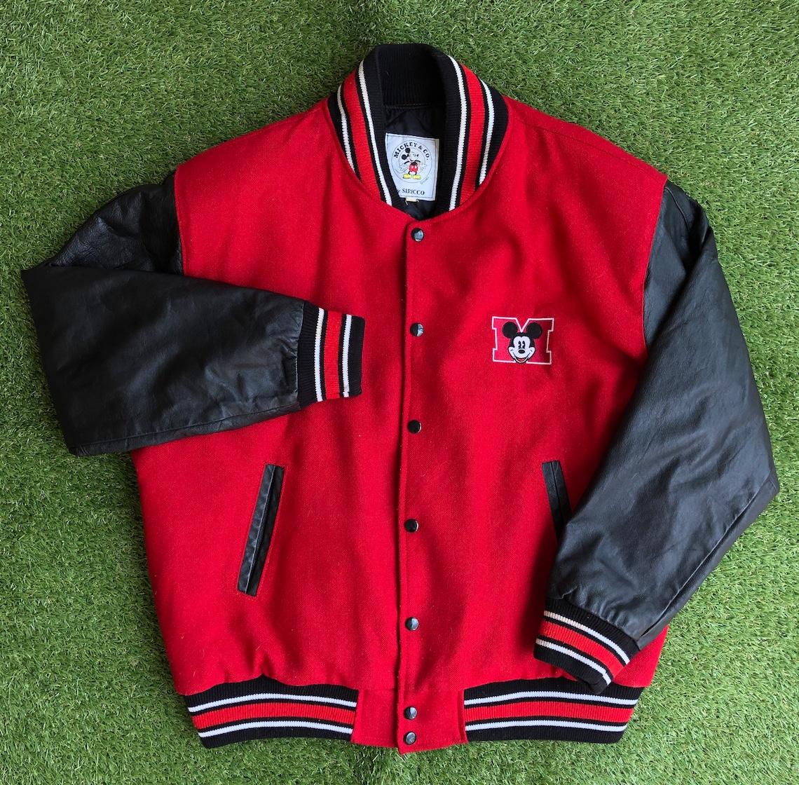 Vintage 1990's Disney Mickey Mouse Varsity Letterman Large Oversized Jacket Retro Hip Hop Streetwear Outerwear Bomber
