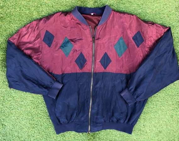 Vintage 1990's Silk Oversized Diamond Patch XL Re… - image 6