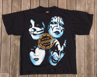 Vintage 90's KISS Glam Rock World Tour Concert T-shirt Unisex Large KISS Hot In The Shade Tour Tee Retro Summer Festival All Over Print Tee