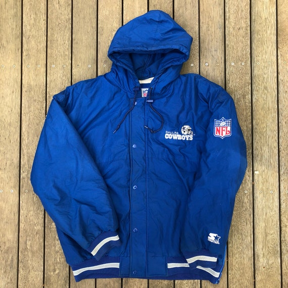 best loved efefc 3cd6e Vintage 90's NFL Starter Dallas Cowboys American Football Large Hooded  Jacket Retro Hip Hop USA Streetwear Winter NFL Cowboys Starter Puffer