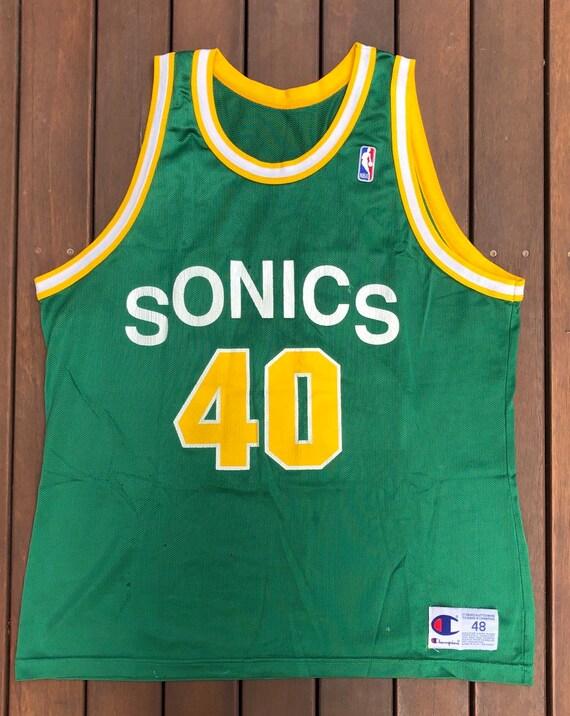 low cost 32de8 5825e Vintage 90's NBA Seattle Supersonics Shawn Kemp Champion Sportswear Size 48  Basketball Jersey Retro Hip Hop Streetwear Summer Bball Jersey