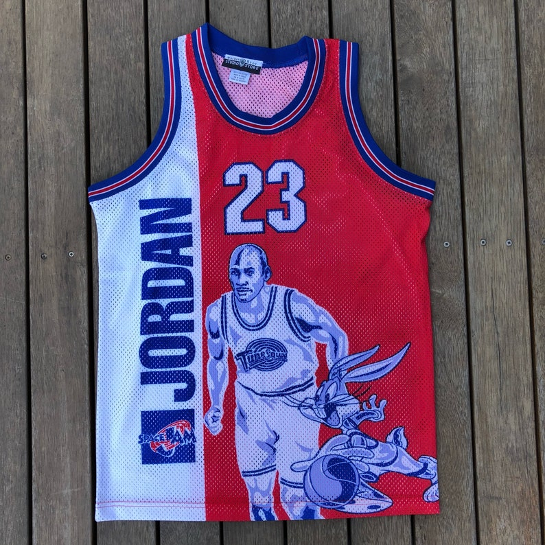 official photos eb947 a8fd7 Vintage 90's Jordan Space Jam Movie Warner Brothers Promo Small Basketball  Jersey Retro Rare Hip Hop Michael Jordan Basketball Cool Summer