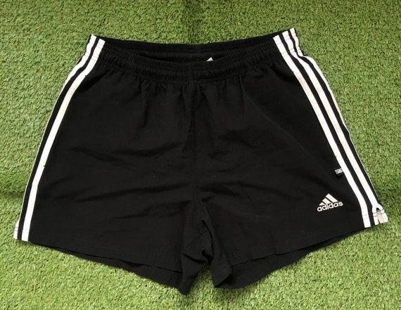 Vintage 1990's Adidas Sportswear Black Unisex Medium 3 Stripes Tracksuit Shorts Retro Hip Hop Streetwear Summer Festival Adidas Activewear