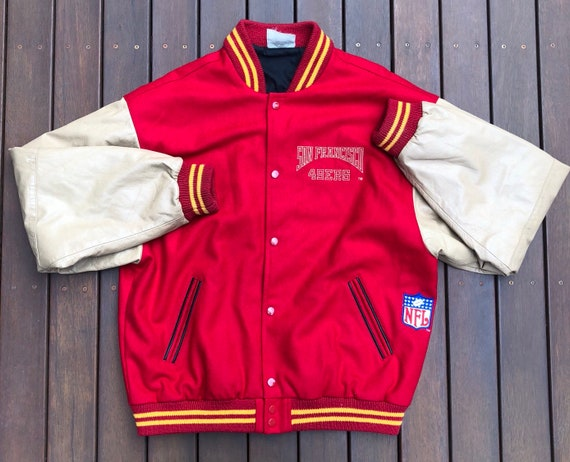 4ac99a196 Vintage 90 s NFL San Francisco 49ers Wool Leather Varsity