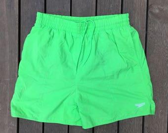 Vintage 90's Speedo Sportswear Lime Green Unisex XL Neon Swim Trunks Retro Speedo Australia Beach Wear Summer Shorts Holiday Resort Festival