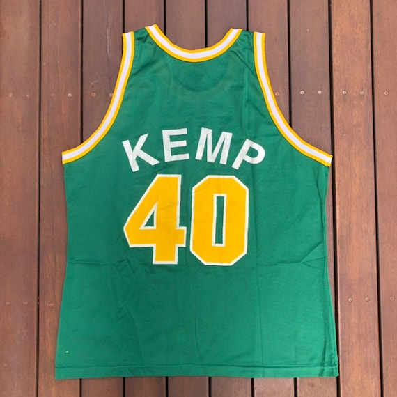 48404040798f1 Vintage 90's NBA Seattle Supersonics Shawn Kemp Champion Sportswear Size 48  Basketball Jersey Retro Hip Hop Streetwear Summer Bball Jersey