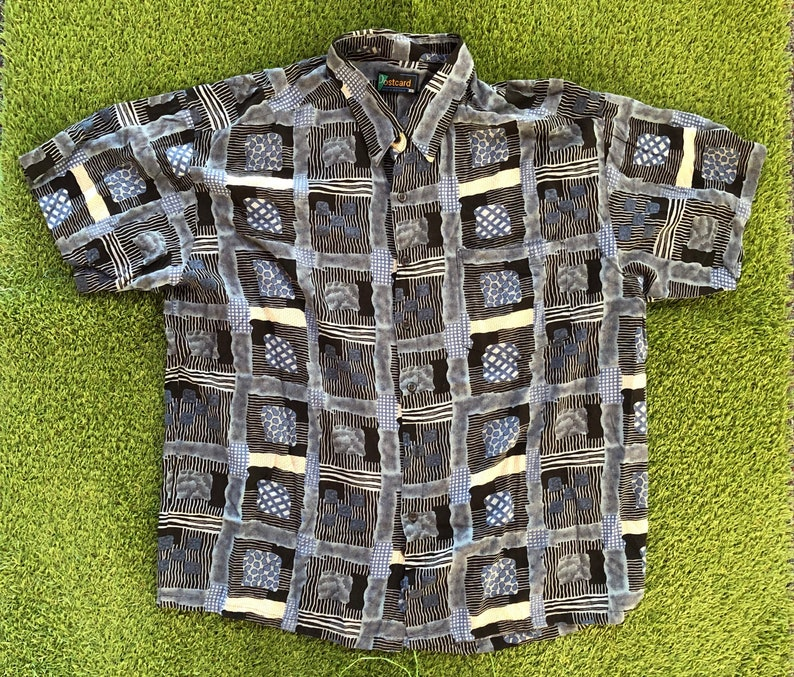 Vintage 1990\u2019s Wild Crazy Geometric All Over Print Australian Made Oversized XXL Short Sleeve Shirt Retro Summer Festival Party Button Up