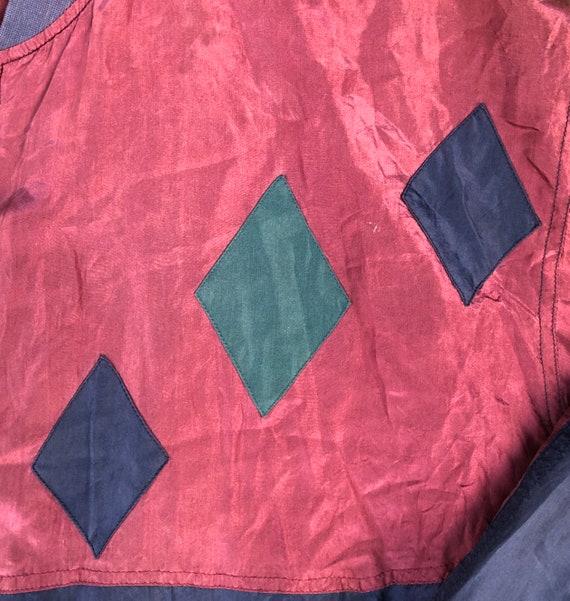 Vintage 1990's Silk Oversized Diamond Patch XL Re… - image 3