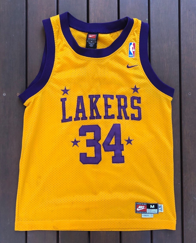 168bcdc547369 Vintage 90's NBA Nike Team Sportswear Los Angeles Lakers Shaquille O'Neal  American Basketball Jersey Retro Hip Hop Streetwear NBA Shaq Top