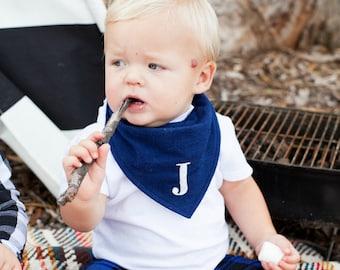 Navy blue hand embroidered bib, baby bibs personalized, bandana bib boy, bandana bibs, unique baby gift, pregnancy gift, baby keepsake, bibs