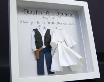 Star Wars Wedding Gift, Star Wars Valentine's Day, Paper First Anniversary Gift, Hans Solo Princess Leia Bride & Groom Frame Star Wars Art
