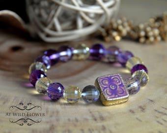 Glass Bracelet, Beaded Bracelet, Gift for Her, Gift Idea, Women's bracelet, Purple Bracelet, Beautiful Bracelet, Boho Bracelet