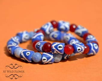 African Beads Bracelets, Beaded Bracelets, Evil Eye Beads Bracelet, Protective Beads Bracelet, Bracelets Set