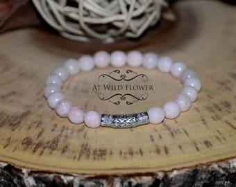 Beaded Bracelet, Beaded Jewelry, Pink Jade bracelet, Gift for Her, Gift Idea, Gemstone Bracelet, Statement Jewelry, Boho chic, Bohemian