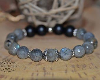 Labradorite Bracelet, Black Onyx, Women Bracelet, Gemstone Bracelet, Beaded Bracelet, Gift for Her, Gift Ideas, Boho Chic, Fancy Bracelet