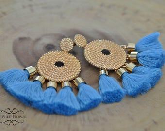 Tassel earrings, statement earrings, big earrings, gift for her, gift idea, gifts for women, jewelry, chic, boho, fashion