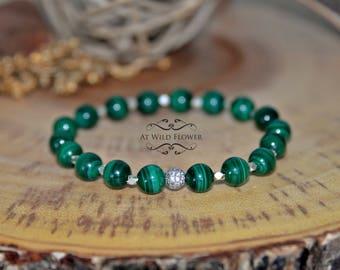 Malachite Bracelet, Silver Bracelet, Beaded Bracelet, Gemstone Bracelet, Gift For Her, Gift Idea, Fancy Bracelet, Women's Bracelet