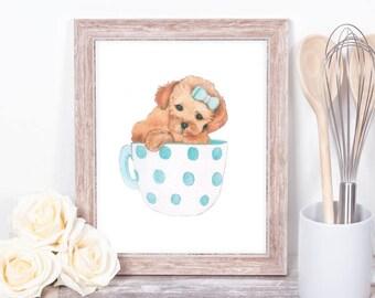 A5-A4 Teacup puppy print art child cute blue gift daughter niece
