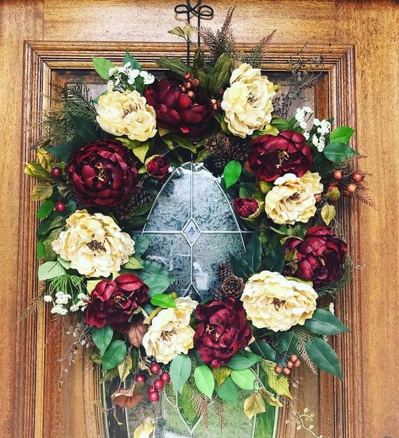 Christmas Wreaths For Double Front Doors: Double Door Fall Wreath Double Christmas Wreath Front Door