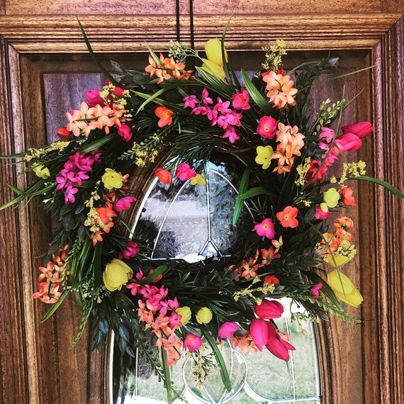 Spring Wreaths For Front Door Pink And Yellow Summer Wreaths Etsy