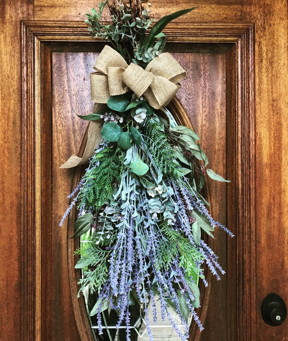 Fall Door Swags: Lavender Eucalyptus Fall Swag Front Door Wreaths For