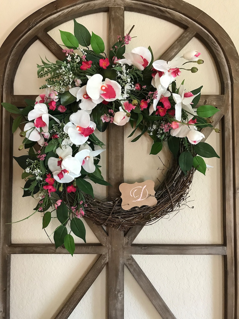Tropical Summer Wreath Orchid Greenery Wreath Front Door Etsy