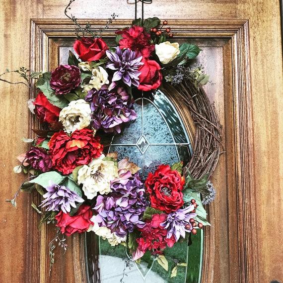 Spring Wreaths For Front Door Valentines Day Door Wreath Red Etsy