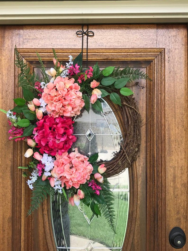 Front Door Wreath Spring Tulip Wreath Summer Wreaths For Etsy