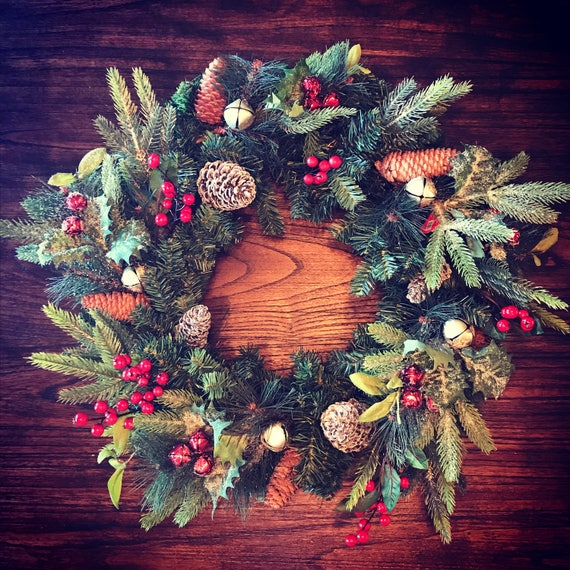 Christmas Wreaths For Double Front Doors: Front Door Rustic Christmas Wreath Double Door Wreaths