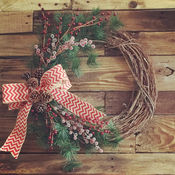 Christmas Wreaths For Double Front Doors: Rustic Christmas Wreath For Front Door Christmas Wreaths