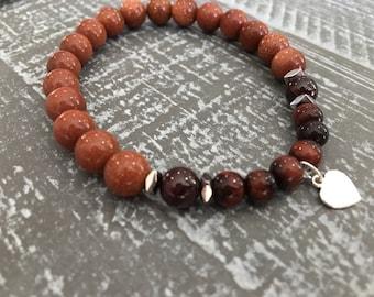 Goldstone Tiger Eye Bracelet, Goal Setting Jewelery