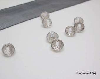 (PF63) Set of 20 faceted Crystal 6mm light grey color effect glass beads