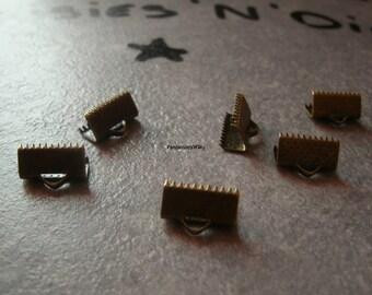 (GR2) Set of 6 corset-Ribbon crimps bronze 13mm
