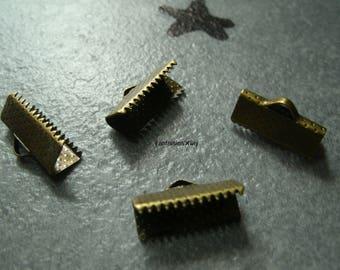 (GR4) Set of 6 corset-Ribbon crimps bronze 16mm